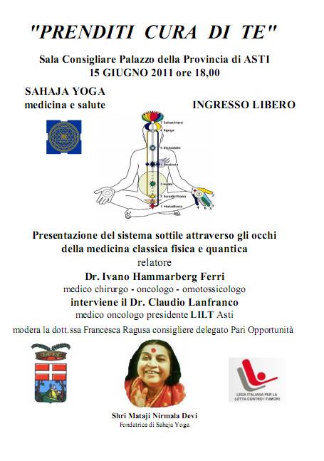 Conferenza di Sahaja Yoga ad Asti: Medicina e Salute