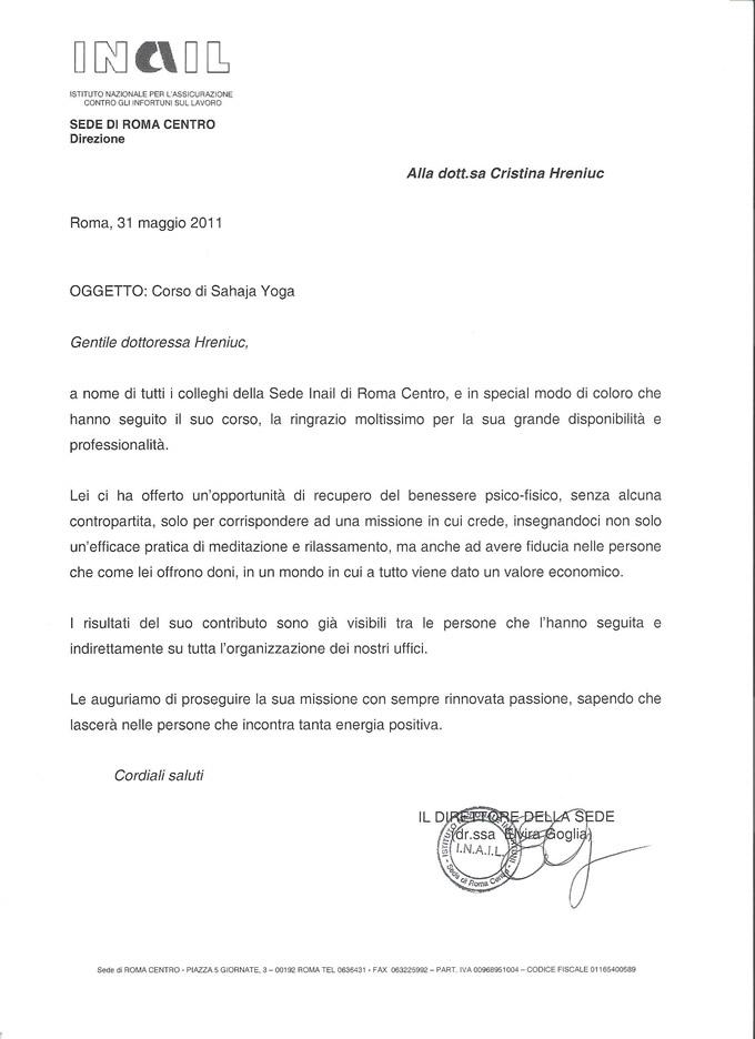 Lettera Inail Roma Centro (clicca qui per leggerla)