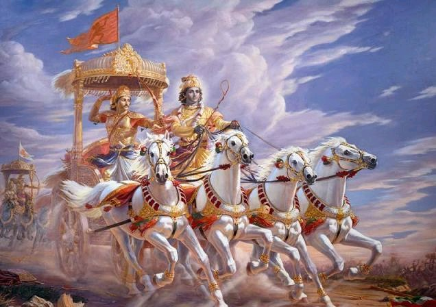 Bhagavad Gita, Arjuna e Shri Krishna sul campo di battaglia