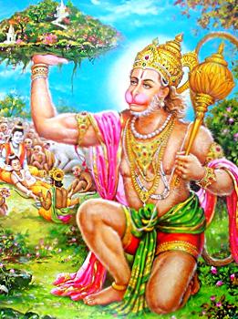 Shri Hanuman porta l'erba sanjivani con tutta la montagna