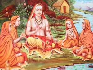 Adi shankaracharya con i suoi discepoli