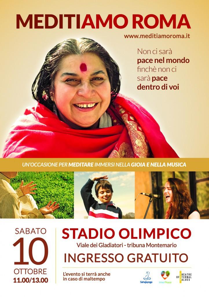 Roma diventa capitale dello yoga e ospita, nello stadio più celebre d'Italia, un evento unico: MediTiamo Roma, manifestazione gratuita e aperta a tutti che darà l'occasione a chiunque lo vorrà di provare la tecnica della meditazione.  Sabato 10 ottobre 2015 la Tribuna Monte Mario dello Stadio Olimpico di Roma si riempirà di musica e artisti provenienti da tutto il mondo con un unico scopo: raggiungere uno stato di pace e unione.   La manifestazione, gratuita e aperta a tutti, permetterà di sperimentare alcune semplici tecniche di meditazione Sahaja Yoga per sciogliere tensioni e blocchi interiori e raggiungere uno stato di benessere a livello fisico, mentale ed emozionale. Una meditazione molto semplice che non richiede posizioni e abbigliamento particolari: nella cultura sahaj, la meditazione è una risorsa interiore infinita che, insegnandoci a cambiare noi stessi, può essere la via spontanea per cambiare la società.   L'appuntamento è sabato 10 ottobre dalle 11:00 alle 13:00. L'evento si svolgerà anche in caso di maltempo. Lo Stadio Olimpico si trova in viale dei gladiatori a Roma.  L'evento, organizzato con l'obiettivo di diffondere i valori universali attraverso la tecnica di meditazione Sahaja Yoga, fondata da Shri Mataji Nirmala Devi, è promosso da Sahaja Yoga Italia, Inner Peace Day e Theatre of Eternal Values.    Per informazioni: http://www.meditiamoroma.it info@meditiamoroma.it info@sahajayoga.it  +39 328 4869422